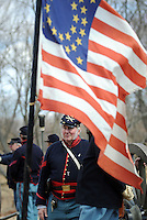 BENSALEM, PA - APRIL 5:  A Union soldier readies for battle during a  Civil War reenactment of the battle of the Overland Campaign of 1864 at Neshaminy State Park April 5, 2014 in Bensalem, Pennsylvania. (Photo by William Thomas Cain/Cain Images)