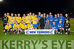 John O'Regan (Mounthawk Park) who presented Denis Guerin (c) of Tralee Classic over 35s team with the New Yorker Cup as they defeated Killarney Athletic over 35s by 2.-1 at Mounthawk Park,Tralee on Friday night. al;so in pic were the refs and Killarney Athletics.