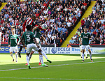 Leon Clarke of Sheffield Utd heading the ball towards goal during the English championship league match at Bramall Lane Stadium, Sheffield. Picture date 5th August 2017. Picture credit should read: Jamie Tyerman/Sportimage