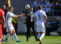 From left, Tommy Smith, All Whites coach Anthony Hudson and Deklan Wynne during the 2018 FIFA World Cup Russia first-leg playoff football match between the NZ All Whites and Peru at Westpac Stadium in Wellington, New Zealand on Saturday, 11 November 2017. Photo: Dave Lintott / lintottphoto.co.nz
