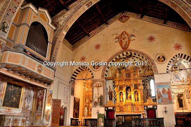 The 16th cenutry Santa Maria delle Grazie church in Gravedona, a town on Lake Como, Italy