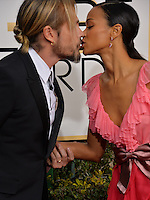 Zoe Saldana &amp; Marco Perego at the 74th Golden Globe Awards  at The Beverly Hilton Hotel, Los Angeles USA 8th January  2017<br /> Picture: Paul Smith/Featureflash/SilverHub 0208 004 5359 sales@silverhubmedia.com