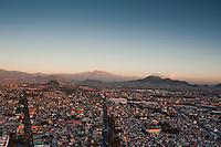 Iztazihuatl and Popocatepetl volcanoes. Aerial photos of Mexico City, Mexico