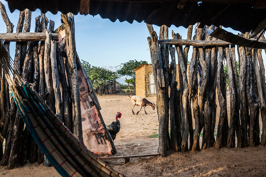 "View from inside a home in a Wayuu indigenous ""rancheria"" or rural settlement in La Guajira, Colombia."