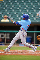 Tennessee Smokies shortstop Bryant Flete (7) at bat during a game against the Montgomery Biscuits on May 25, 2015 at Riverwalk Stadium in Montgomery, Alabama.  Tennessee defeated Montgomery 6-3 as the game was called after eight innings due to rain.  (Mike Janes/Four Seam Images)
