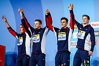 Picture by Rogan Thomson/SWpix.com - 30/07/2017 - Swimming - Fina World Championships 2017 -  Duna Arena, Budapest, Hungary - Chris Walker-Hebborn, Adam Peaty, James Guy and Duncan Scott celebrate as Great Britain go on to win the Silver Medal in the Final of the Men's 4x100m Medlay Relay.