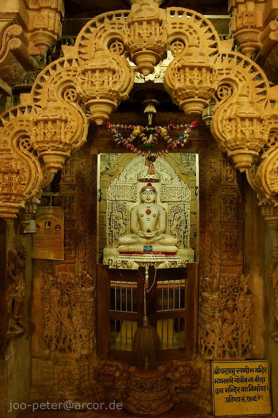 main shrine in Jain temple, Jaislamer Fort, Rajastan.