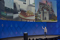 Mark Zuckerberg, founder of Facebook, speaks during the opening of the annual Facebook Developer Confernece F8 in San Jose, US, 18 April 2017. The announced a new Augmented Reality Plattform in which virtual objects are integrated in the real surrounding. Photo: Andrej Sokolow/dpa /MediaPunch ***FOR USA ONLY***