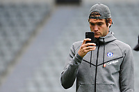 Marcos Alonso of Chelsea takes pictures after walking too the pitch shortly after arriving during Newcastle United vs Chelsea, Premier League Football at St. James' Park on 13th May 2018