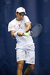24 MAY 2016: Virgina's Henrik Wiersholm returns service in his singles match. The Division I Men's Tennis Championship is held at the Michael D. Case Tennis Center on the University of Tulsa campus in Tulsa, OK.  Virginia defeated Oklahoma for the national championship. Shane Bevel/NCAA Photos