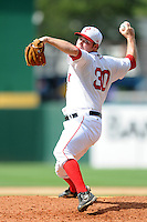 Pawtucket Red Sox pitcher Alex Wilson # 30during a game versus the Lehigh Valley Iron Pigs at McCoy Stadium in Pawtucket, Rhode Island on August 5, 2012.  (Ken Babbitt/Four Seam Images)
