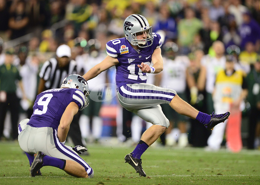 Jan. 3, 2013; Glendale, AZ, USA: Kansas State Wildcats kicker Anthony Cantele (10) against the Oregon Ducks during the 2013 Fiesta Bowl at University of Phoenix Stadium. Oregon defeated Kansas State 35-17. Mandatory Credit: Mark J. Rebilas-