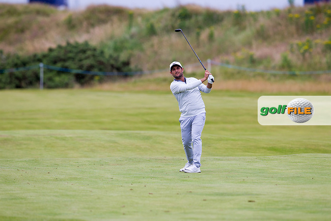Alexander Levy (FRA) on the 18th during round 2 of the Aberdeen Asset Management Scottish Open 2017, Dundonald Links, Troon, Ayrshire, Scotland. 14/07/2017.<br /> Picture Fran Caffrey / Golffile.ie<br /> <br /> All photo usage must carry mandatory copyright credit (&copy; Golffile | Fran Caffrey)