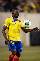 Ecuador midfielder Walter Ayovi (10). Argentina and Ecuador played to a 0-0 tie during an international friendly at MetLife Stadium in East Rutherford, NJ, on November 15, 2013.