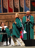 New Orleans native and Emmy winning televison host Ellen DeGeneres dances off stage after giving the commencent speech to the Tulane Class of 2009 during graduation exercises at the Louisiana Superdome in New Orleans, Saturday, May 16, 2009. Ellen gave the commencment speech to the Katrina Class also know as the graduating clas of 2009.( Photo © Suzi Altman)