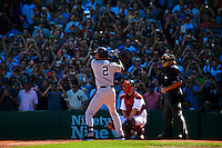 BOSTON, MASS. - SEPT. 28, 2014: Derek Jeter bats second in the first inning as the New York Yankees and Boston Red Sox play at Fenway Park. The game is last game of Derek Jeter's career. M. Scott Brauer for The New York Times