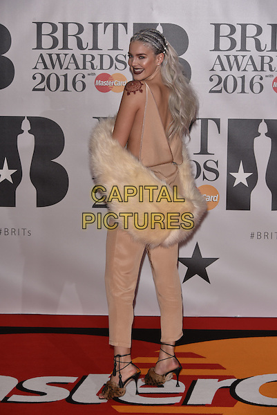 LONDON, ENGLAND - FEBRUARY 24: Anne-Marie attends the BRIT Awards 2016 at The O2 Arena on February 24, 2016 in London, England<br /> CAP/PL<br /> &copy;Phil Loftus/Capital Pictures