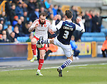 Millwall's Joe Martin tussles with Sheffield United's John Brayford during the League One match at The Den.  Photo credit should read: David Klein/Sportimage