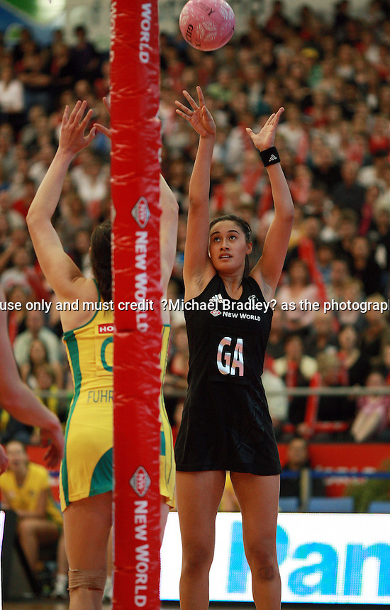 20.09.2009 Silver Ferns Maria Tutaia in action during the Silver Ferns and Australia netball test match in Invercargill. Mandatory Photo Credit ©Michael Bradley.