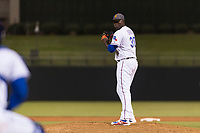 AFL West relief pitcher Demarcus Evans (30), of the Surprise Saguaros and Texas Rangers organization, gets ready to deliver a pitch during the Arizona Fall League Fall Stars game at Surprise Stadium on November 3, 2018 in Surprise, Arizona. The AFL West defeated the AFL East 7-6 . (Zachary Lucy/Four Seam Images)