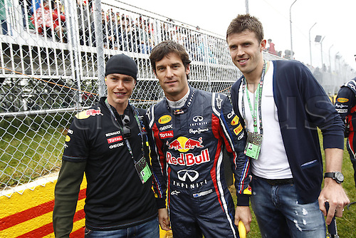 12 06 2011  FIA Formula One World Championship 2011 Grand Prix of Canada 02 Mark Webber (aus) Red Bull Racing motor aviation men Formula 1 F1 F World Cup GP Canada Montreal Webber is seen with professional football player Michael Carrick (manchester United)