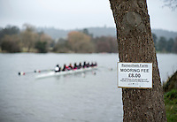 Henley. United Kingdom.  General View, Mooring Fee notice ,attached to a tree,  Henley Fours &amp; Eights Henley Head,  Henley Reach, River Thames. H-O-T, England.<br /> <br /> Saturday  18/02/2017<br /> <br /> [Mandatory Credit. Peter SPURRIER/Intersport Images]