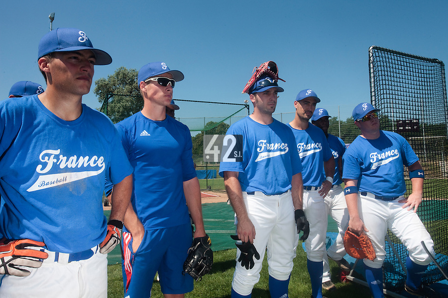 20 july 2010: Romain Scott Martinez, Gregory Cros, Gaspard Fessy, Jerome Rousseau, David Gauthier, are seen during a practice prior to the 2010 European Championship Seniors, in Neuenburg, Germany.
