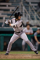 Lake Elsinore Storm second baseman Matthew Batten (29) at bat during a California League game against the Modesto Nuts at John Thurman Field on May 12, 2018 in Modesto, California. Lake Elsinore defeated Modesto 4-1. (Zachary Lucy/Four Seam Images)