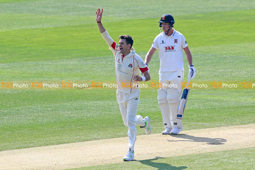 Jimmy Anderson of Lancashire with an appeal for a wicket during Essex CCC vs Lancashire CCC, Specsavers County Championship Division 1 Cricket at The Cloudfm County Ground on 8th April 2017