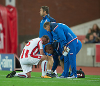 Charlie Adam of Stoke City receives treatment during the Carabao Cup match between Stoke City and Rochdale at the Bet365 Stadium, Stoke-on-Trent, England on 23 August 2017. Photo by James Williamson / PRiME Media Images.