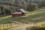 Red wooden barn, country road and barbwire fence, winter, Amador County, Calif.