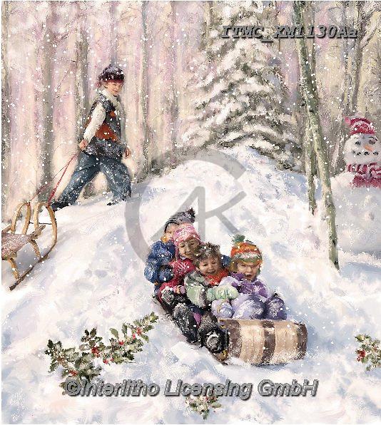 Marcello, CHRISTMAS CHILDREN, WEIHNACHTEN KINDER, NAVIDAD NIÑOS, paintings+++++,ITMCXM1130AA,#xk# ,playing in snow