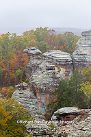 63895-15701 Camel Rock in fall Garden of the Gods Shawnee National Forest Saline Co IL