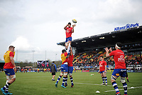 Bath Rugby forwards practise their lineout during the pre-match warm-up. Aviva Premiership match, between Saracens and Bath Rugby on April 15, 2018 at Allianz Park in London, England. Photo by: Patrick Khachfe / Onside Images
