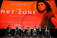 "NORTH HOLLYWOOD - MAY 20: (L-R) Moderator Ben Travers, Executive Producers Kelly Souders, Brian Peterson, and Lynda Obst, Michael Uppendahl (Director), Sean Callery (Composer), and Mark Hutman (Production Designer) attends an FYC event for National Geographic's ""The Hot Zone"" at the Television Academy on May 20, 2019 in North Hollywood, California. (Photo by Frank Micelotta/National Geographic/PictureGroup)"