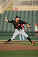 Delmarva Shorebirds relief pitcher Garrett Cortright (10) in action against the Kannapolis Intimidators at CMC-Northeast Stadium on June 7, 2015 in Kannapolis, North Carolina.  The Shorebirds defeated the Intimidators 9-1.  (Brian Westerholt/Four Seam Images)
