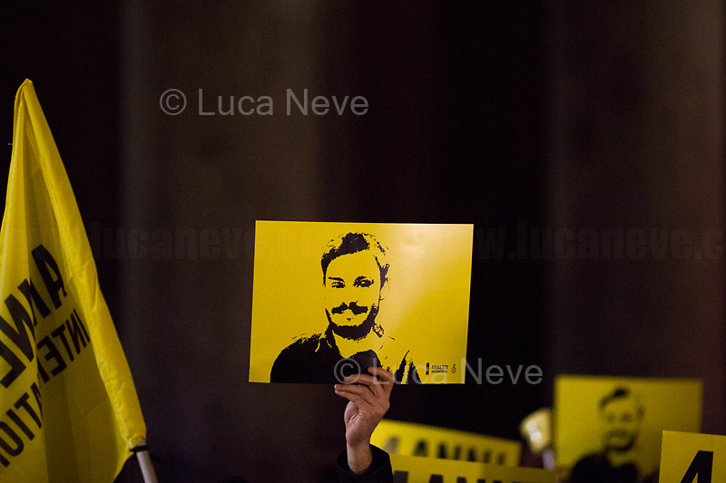 """Rome, 25/01/2020. Today, hundreds of people gathered outside the Pantheon, and in several squares across Italy, to hold a candlelit vigil marking the fourth anniversary of the disappearance of Giulio Regeni. Regeni was an Italian Cambridge University graduate (PhD student at Girton College, Cambridge) who was kidnapped, tortured and killed in Egypt while he was researching Egypt's independent trade unions. The body of the 28-year-old Cambridge PhD student was found on a Cairo road on Wednesday 3rd of February 2016. According to the autopsy, Giulio died after a vertebra in his neck was fractured. Moreover, his body - found on the Cairo-Alexandria desert road - shown signs of tortures, abrasions - including marks similar to cigarette burns - and fractures. After four years of disinformation, """"depistaggi"""", reticence, misdirections, the role of the Cambridge University and the role of the Egyptian regime of the President Al-Sisi, after four years of a very difficult investigations for the Italian Police, the Regeni's family, Amnesty International and thousands of people are still calling for the immediate truth about this brutal assassination. <br /> <br /> Footnotes & Links: <br /> http://bit.do/fqv6c (Facebook event)<br /> https://www.amnesty.it/<br /> https://www.amnesty.it/4annisenzagiulio/<br /> https://www.facebook.com/veritaegiustiziapergiulioregeni/ <br /> https://giuliosiamonoi.wordpress.com  <br /> Book """"Giulio Fa Cose"""" (Ed. Feltrinelli): http://bit.do/fqv39"""