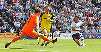 Burton Albion's Stephen Bywater saves the shot from Preston North End's Callum Robinson<br /> <br /> Photographer Alex Dodd/CameraSport<br /> <br /> The EFL Sky Bet Championship - Preston North End v Burton Albion - Sunday 6th May 2018 - Deepdale Stadium - Preston<br /> <br /> World Copyright &copy; 2018 CameraSport. All rights reserved. 43 Linden Ave. Countesthorpe. Leicester. England. LE8 5PG - Tel: +44 (0) 116 277 4147 - admin@camerasport.com - www.camerasport.com