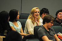 The Harker School - US - Upper School - Alumni - Alumnus Gary King, along with his leading actress, Christina Rose, visit current Harker US PA students and discusses film making, the industry, technique, among other  facets of the Hollywood lifestyle - Photo by Kyle Cavallaro