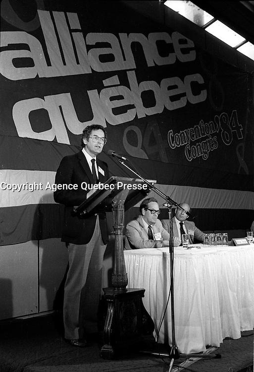 FILE PHOTO  - Alliance Quebec's convention, June 2-3rd , 1984<br /> <br /> <br /> MANDATORY CREDIT <br /> PHOTO :  Pierre Roussel - Agence Quebec Presse
