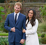 27.11.2017; London, England: PRINCE HARRY AND MEGHAN MARKLE <br />pose in the Sunken Garden at Kensington Palace, after the official confirmation of their engagement<br />The couple plan to tie the knot in the Spring of 2018, with May being the likely month.<br />Mandatory Photo Credit: &copy;Francis Dias/NEWSPIX INTERNATIONAL<br /><br />IMMEDIATE CONFIRMATION OF USAGE REQUIRED:<br />Newspix International, 31 Chinnery Hill, Bishop's Stortford, ENGLAND CM23 3PS<br />Tel:+441279 324672  ; Fax: +441279656877<br />Mobile:  07775681153<br />e-mail: info@newspixinternational.co.uk<br />Usage Implies Acceptance of Our Terms &amp; Conditions<br />Please refer to usage terms. All Fees Payable To Newspix International