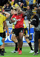 Manasa Mataele celebrates his try during the Super Rugby match between the Hurricanes and Crusaders at Westpac Stadium in Wellington, New Zealand on Saturday, 10 March 2018. Photo: Dave Lintott / lintottphoto.co.nz