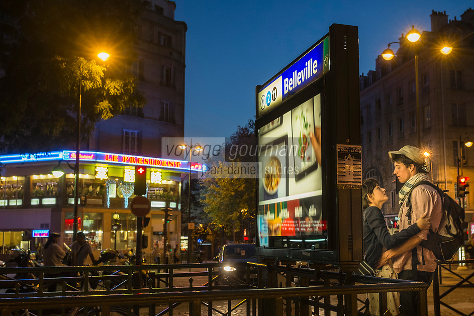 France, Paris (75), quartier de Belleville . Station de métro Belleville // France, Paris, Belleville Distric,   Belleville Subway station<br />  [Non destiné à un usage publicitaire - Not intended for an advertising use]