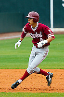 NASHVILLE, TENNESSEE-Feb. 27, 2011:  Lonnie Kauppilla of Stanford leads off second base during the game at Vanderbilt.  Stanford defeated Vanderbilt 5-2.