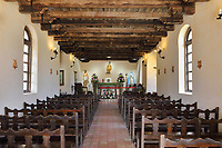 Chapel nave, at the Mission Espada, or Mission San Francisco de la Espada, a Spanish catholic colonial mission and church originally established in 1691 and moved here in 1731, to spread Christianity among Native Americans, 1 of 4 missions in the San Antonio Missions National Historical Park, in San Antonio, Texas, USA. The mission originally included a church, priest's house, blacksmiths, kiln and workrooms, but a fire in 1826 destroyed most of the buildings, leaving only the chapel, granary and 2 compound walls. Still in use is a well preserved section of the acequia or irrigation system, used to bring water to the fields. The mission is listed on the National Register of Historic Places and forms part of the San Antonio Missions UNESCO World Heritage Site. Picture by Manuel Cohen