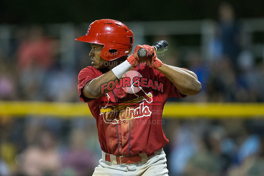 Magneuris Sierra (37) of the Johnson City Cardinals at bat against the Burlington Royals at Burlington Athletic Park on August 22, 2015 in Burlington, North Carolina.  The Cardinals defeated the Royals 9-3. (Brian Westerholt/Four Seam Images)