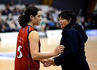 Charlisse Leger-Walker with her mum and coach Leanne Walker (right) before the 2019 Schick AA Girls' Secondary Schools Basketball National Championship final between St Peters School Cambridge and Hamilton Girls' High School at the Central Energy Trust Arena in Palmerston North, New Zealand on Saturday, 5 October 2019. Photo: Dave Lintott / lintottphoto.co.nz