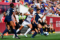 HARRISON, NJ - SEPTEMBER 29: Claire Emslie #7 of the Orlando Pride and Raquel Rodriguez #11 of Sky Blue FC during a game between Orlando Pride and Sky Blue FC at Red Bull Arena on September 29, 2019 in Harrison, New Jersey.
