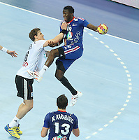18.01.2013 Barcelona, Spain. IHF men's world championship, prelimanary round. Picture showLuc Abalo     in action during game between France vs Germany at Palau St Jordi