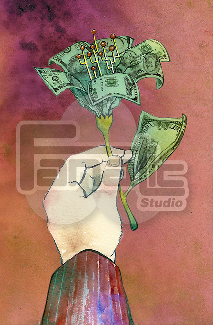 Conceptual shot of human hand holding money in form of flower